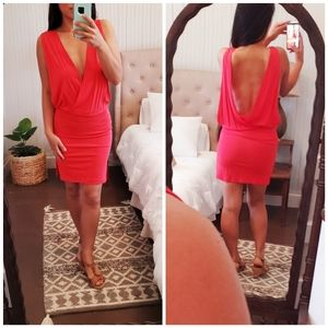 Haute Hippie Sexy Red Plunge Open Back Mini Dress
